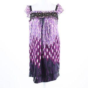 Purple black geometric  ECI  sleeve shift dress 4